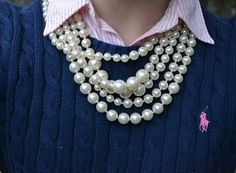 I love these sort of style . pearls. collar blouse , nice Knit sweater