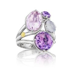 Sparkling droplets of Rose Amethyst, White Chalcedony, and Amethyst are brilliantly united.