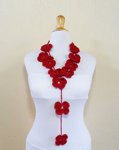 Crochet Flower Scarf  RED  hand crocheted  by OriginalDesignsByAR, $22.95