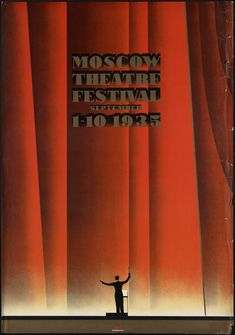 Photograph - Moscow Theatre Festival 1935 - Russia - Retro Travel Poster - Vintage Poster by Studio Grafiikka , Festival Posters, Concert Posters, Vintage Advertisements, Vintage Ads, Vintage Airline, Retro Advertising, Vintage Prints, Art Deco Posters, Poster Prints