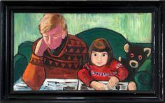 Tulla Blomberg Ranslet Portrait of her husband Arne Ranslet and the youngest daughter Charlotte (Pharyah)