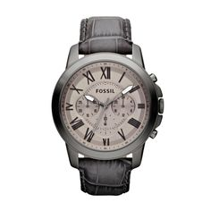 "Fossil Grant Leather Watch – Grey  1.73"" diameter"