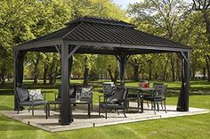Amazon.com : MESSINA 12'x16' - Charcoal (#77) Hard Top Sun Shelter, Aluminum Structure, Galvanized Steel Roof, 2 Tracks, Mosquito Netting Included : Patio, Lawn & Garden