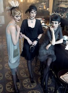 'Autumn in Paris' Vogue US, September 2007. Sasha Pivovarova, Guinevere van Seenus and Coco Rocha photographed by Steven Meisel,