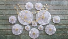 Items similar to SET OF 12 - White Paper Rosettes / fans - Wedding decor, Party decor, Table Backdrop, Hanging Decor for Baby shower, Nursery on Etsy Paper Decorations, Wedding Decorations, Wedding Ideas, First Communion Decorations, Circle Garland, Origami, Paper Rosettes, Wedding Fans, First Holy Communion