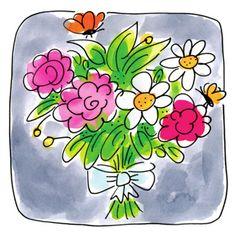 Een bosje bloemen met vlinders- Greetz