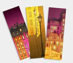 PARIS BOOKMARKS - Set of 3 This listing is for three Paris bookmarks: Morning shine / Paris red facade / Montmartre at night Creative Bookmarks, Cute Bookmarks, Bookmark Craft, Paper Bookmarks, Watercolor Bookmarks, Watercolor Art, Bullet Journal Books, Book Markers, Art Drawings Sketches