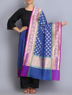 Blue-Purple Handwoven Benarasi Silk Dupatta on Jaypore.com