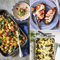 Helppo uuniruoka – katso ohjeet   Meillä kotona Chorizo, Chana Masala, Mozzarella, Food Inspiration, Feta, Curry, Chicken, Ethnic Recipes, Curries