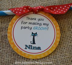 Pete the Cat Party: Pete the Cat Thank You Tags or Labels http://www.babadoodesigns.com/petethecat.html
