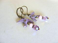 Layla Lilac Swallow Bead Drop Earrings | JO JO DE BULMER MISI Handmade Shop