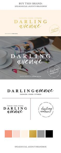 Shop beautiful pre-made logos and brands for a variety of small business types. Customizable logo designs. Fashion blogger logos, photographer logos, bakery logos. Darling Avenue Logo design - feminine. By Speak Social Agency