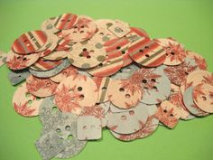 OVER 100 BUTTONS EMBOSSED for Card Making by TheScrappyKat on Etsy, $2.00