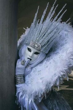 Winter cosplay Ice Queen being demon