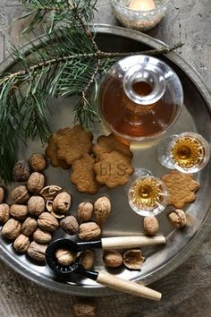 holiday cocktails and cookies, walnuts