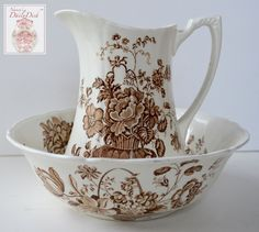 Charlotte Floral Brown Transferware Wash Bowl - Basin & Pitcher Basket of Roses