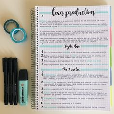 Teresa's studyblr: Photo My notes on Lean Production on this 5 subject spiral notebook my boyfriend gave me, I love it! Bullet Journal Notes, Bullet Journal Lettering Ideas, Bullet Journal School, Bullet Journal Writing, Bullet Journal Ideas Pages, School Organization Notes, Notebook Organization, College Notes, School Notes
