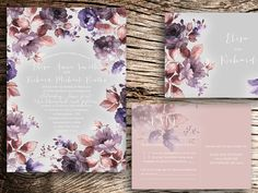 34,00 Printable Wedding Invitation FLOWERS SPRING delicate wedding -  modern chic wedding set