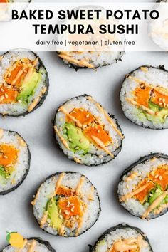 This sweet potato tempura sushi roll is a vegetarian recipe that is gluten free and so easy to make. Sweet Potato Sushi Roll, Sweet Potato Tempura, Sweet Potato Rolls, Veggie Sushi Rolls, Homemade Sushi Rolls, Vegetarian Sushi Recipes, Healthy Sushi, Vegan Recipes, Sushi Roll Recipes