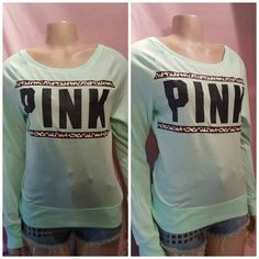 Victoria's Secret PINK Long Sleeve Tee Shirt top Mint Green Animal Graphic XS #VictoriasSecret #GraphicTee #pink #pinknation #fashion #style #chic #ebay #fashionmagenet #sales #sale #shop #shopping