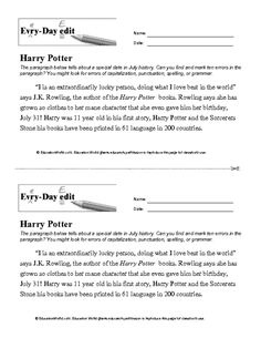 Everyday Edit - J.K. Rowling - quotations, verb tense, homophones, plurals, possessives, apostrophes, run-on sentences