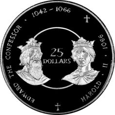 Cayman Islands 25 Dollars Silver Coin 1980 Anglo-Saxon Kings of England: King Edward the Confessor and King Harold II.