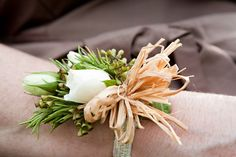 Virginia Burlap Babys Breath Wedding Corsage 550x366 Libby + Joshuas Beautiful and Natural Outdoor Vineyard Wedding in Virginia