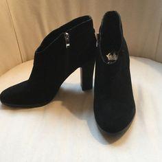 Black ankle booties, never worn Black side zip suede booties, never been worn! Crown Vintage Shoes Ankle Boots & Booties