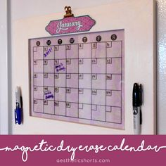 Use your Silhouette to turn a picture frame into a perpetual calendar that can hang on your fridge all year long! #dry_erase_calendar #magnetic_calendar #organization #diy_calendar #calendar_ideas