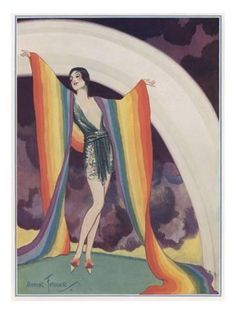 Hahnemuhle PHOTO RAG Fine Art Paper (other products available) - Illustration of a glamorous lady wearing a rainbow as a shawl. - Image supplied by Mary Evans Prints Online - Fine Art Print on Paper made in the UK Art Deco Illustration, Koala Illustration, Mermaid Illustration, Mountain Illustration, Butterfly Illustration, Coffee Illustration, Illustration Fashion, Portrait Illustration, Vintage Illustrations