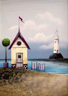 Gary Walton artwork for display and sale in Cliftonville Margate Kent Margate Kent, Beach Quilt, Exhibition Space, Lighthouse, Trip Advisor, Landscape, Gallery, Drawings, Art Supplies