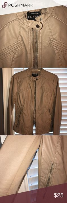 Express Minus the Leather Jacket Stone colored with silver zippers. Worn once. Knit fabric under arms & down sides for added stretch. Very comfortable jacket. Can be dressed up or down. Express Jackets & Coats Blazers