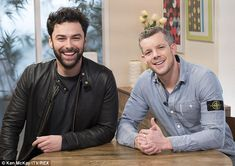 Back together! Aidan also got to meet up with his former Being Human co-star Russell Tovey...