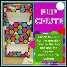 Check this out! The Flip Chute makes for an awesome center activity for most any skill.  FREE noun/verb cards and step-by-step directions for making your own.
