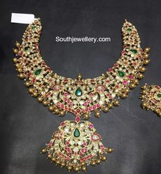 22 carat gold peacock necklace studded with uncut diamonds, rubies and emeralds by Shivika Jewelry. Indian Jewellery Design, Indian Jewelry, Jewelry Design, Vintage Jewellery, Antique Jewelry, Diamond Jewelry, Gold Jewelry, Diamond Pendant, Diamond Rings