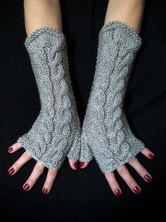 Fingerless Gloves Grey Wrist Warmers Cabled Handmade Warm Soft Acrylic by LaimaShop