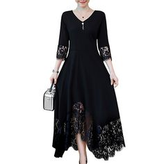 Womens Plus Size Daily Maxi A Line Dress - Solid Colored Bla Women's A Line Dresses, Types Of Dresses, Plus Size Dresses, Plus Size Outfits, Dresses With Sleeves, Cheap Elegant Dresses, Cheap Maxi Dresses, Women's Dresses, Fashion Dresses