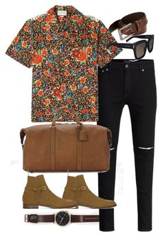 """""""Inspired by Harry Styles."""" by nikka-phillips ❤ liked on Polyvore featuring HUGO, Gucci, Yves Saint Laurent, men's fashion and menswear"""
