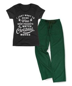 Loving this Heather Charcoal 'Wine Presents' Fitted Tee & Green Lounge Pants on Wine Presents, Pajama Set, Pajama Pants, Green Lounge, Mother Dearest, Long Winter, Lounge Pants, What To Wear, Charcoal