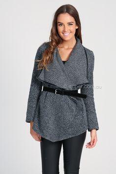 grey wool textured wrap coat with black belt