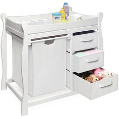 This White Changing Table With Hamper Helps Make Diaper A Little Easier Safer