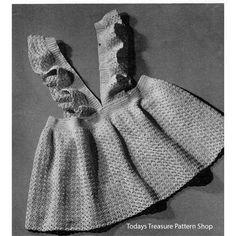 Vintage crochet pattern for a toddler pinafore dress with a full skirt, waist band and two v-shaped shoulder straps that are ruffled edged.  Pattern is size 2 and 3.    This crochet pattern is available at Vintage Knit Crochet Pattern Shop.
