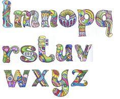 Alphabet Lower Case L-Z by Sheila Arthurs Tangle Doodle, Tangle Art, Doodles Zentangles, Zentangle Patterns, Doodle Art, Doodle Alphabet, Alphabet Art, Alphabet And Numbers, Letter Art