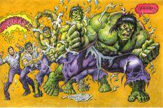 Bruce to Hulk colored Comic Art