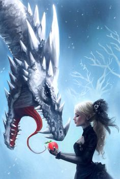 Ice Dragon and a woman - Snow and Ice: Stepping Over Magical Creatures, Fantasy Creatures, Best Wallpaper Iphone, Iphone Wallpapers, Mobile Wallpaper, Elfen Fantasy, Ice Dragon, Snow Dragon, Dragon Heart