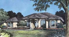 Home Plans HOMEPW13326 - 2,362 Square Feet, 4 Bedroom 3 Bathroom Mediterranean Home with 2 Garage Bays