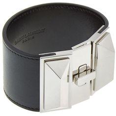 Saint Laurent Clous Punk Wide Cuff Bracelet ($785) ❤ liked on Polyvore featuring jewelry, bracelets, bracelet bangle, engraved cuff bracelet, hinged cuff bracelet, genuine leather bracelet and wide bracelet
