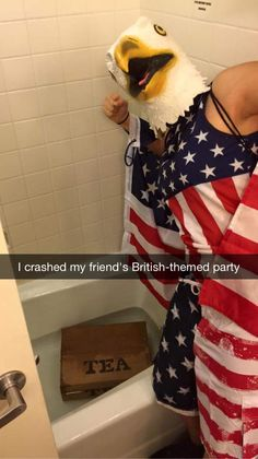 The best way to crash a British-themed party.AMERICA!
