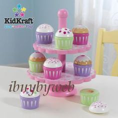 KidKraft 63156 Cupcake Stand Set Kids Kitchen Play Food