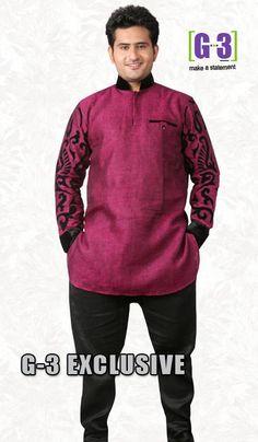 G3 fashions PurpleLinen Short Pathani Kurta  Product Code : G3-MSP1035 Price : INR RS 2635
